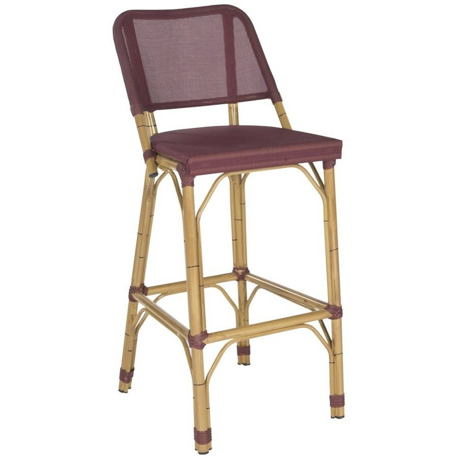 Safavieh Deltana 1-Count Wood Patio Bar Stool Chair with Maroon