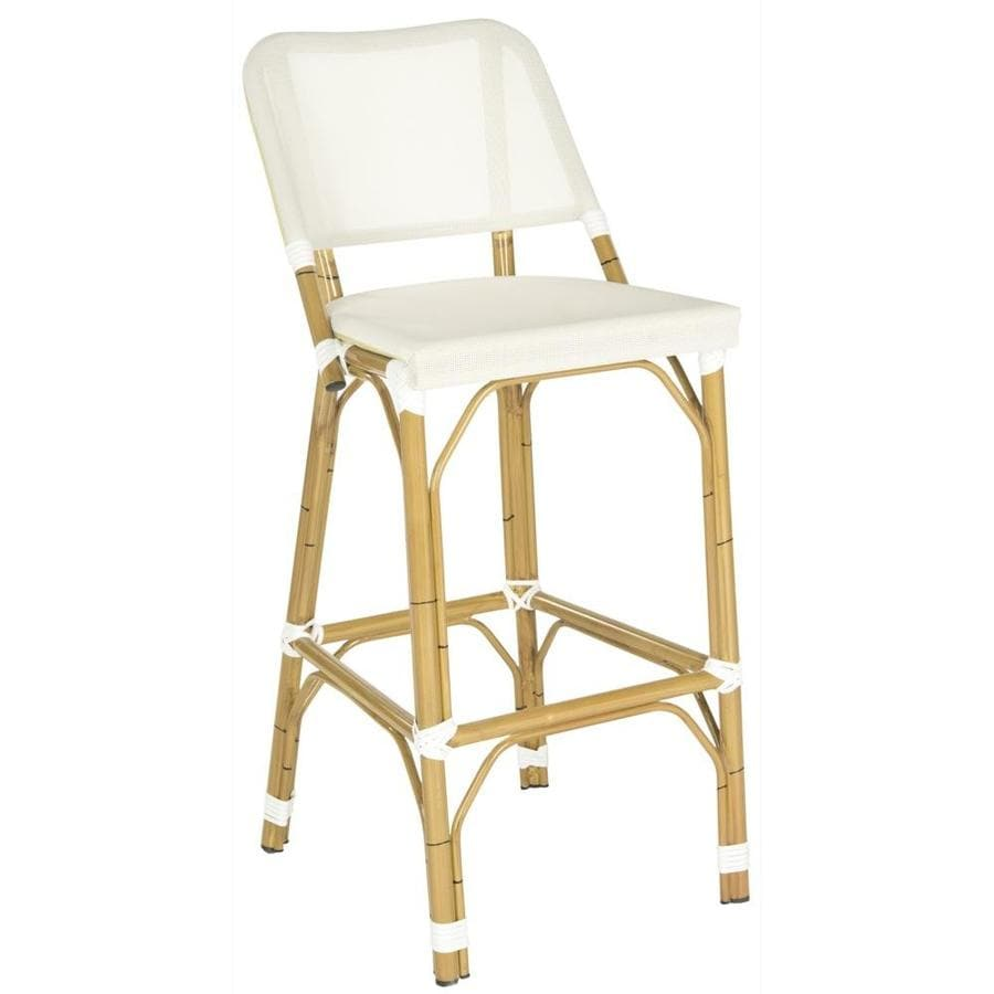 Safavieh Deltana 1-Count Wood Patio Bar Stool Chair with Beige