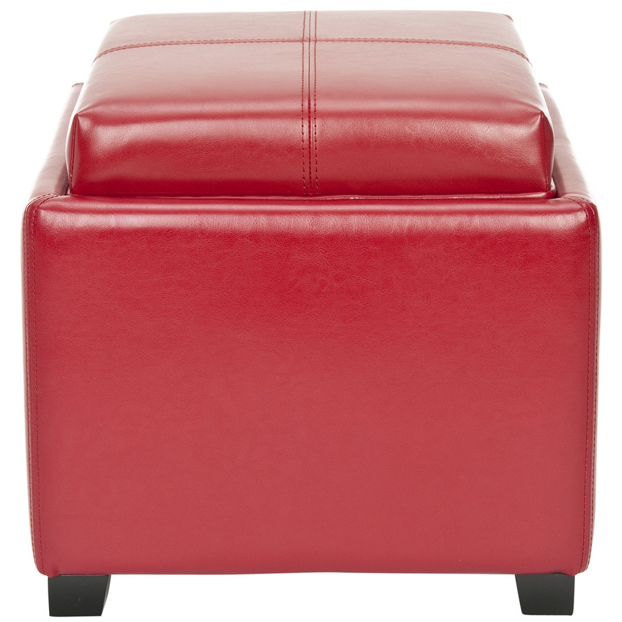 Safavieh Harrison Single Casual Red Faux Leather Storage Ottoman