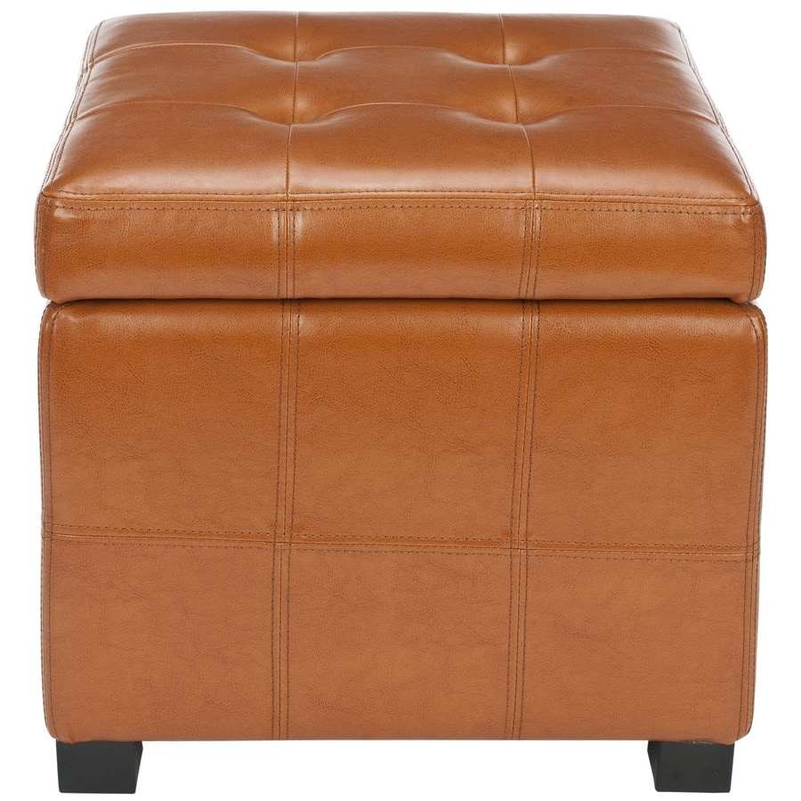 Safavieh Maiden Casual Saddle Faux Leather Storage Ottoman