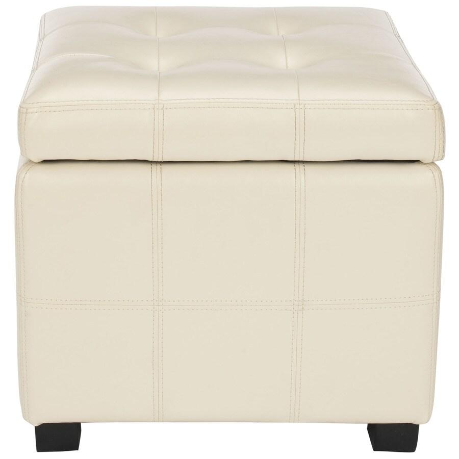 Safavieh Maiden Casual Flat Cream Faux Leather Storage Ottoman
