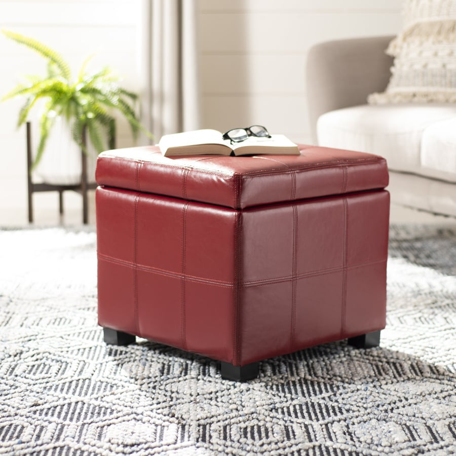Safavieh Maiden Casual Red Faux Leather Storage Ottoman