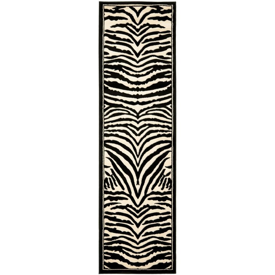 Safavieh Lyndhurst Zebra White/Black Indoor Animals Runner (Common: 2 x 12; Actual: 2.25-ft W x 12-ft L)