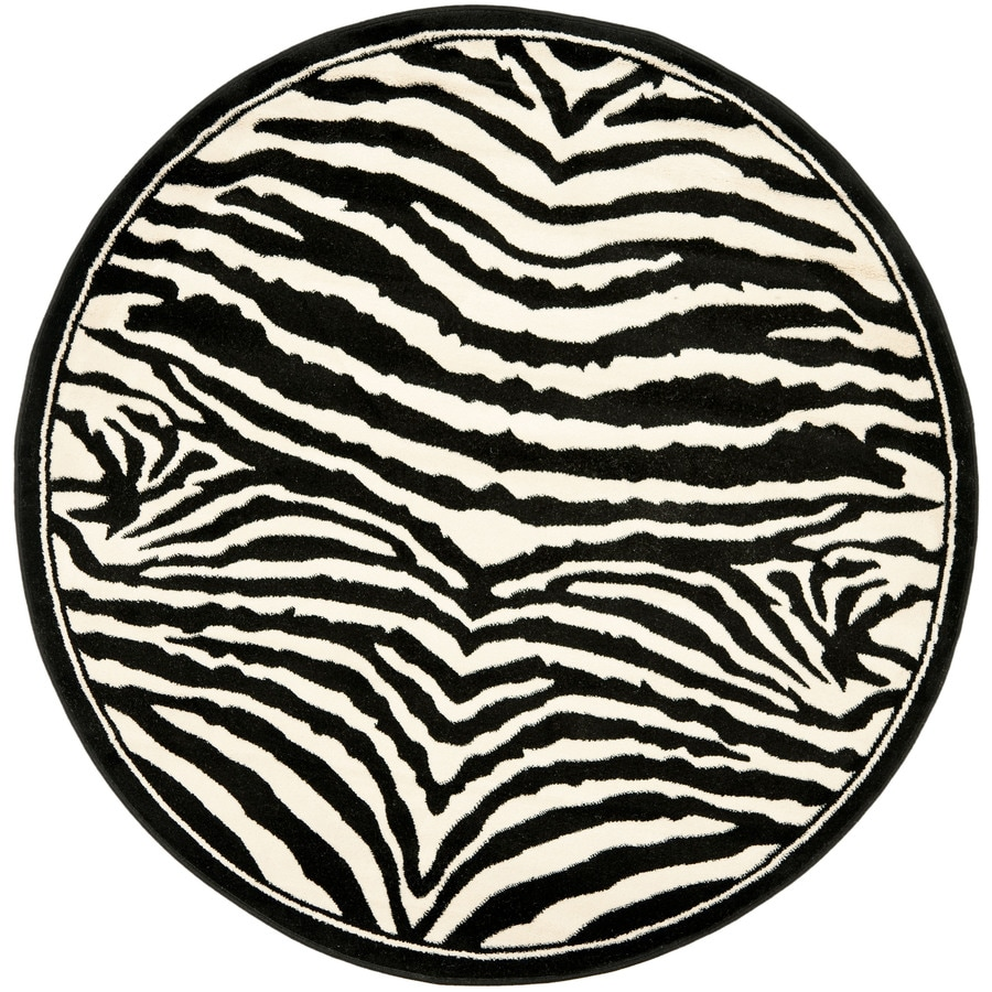 Safavieh Lyndhurst Zebra White/Black Round Indoor Machine-made Animals Area Rug (Common: 8 x 8; Actual: 8-ft W x 8-ft L x 8-ft Dia)