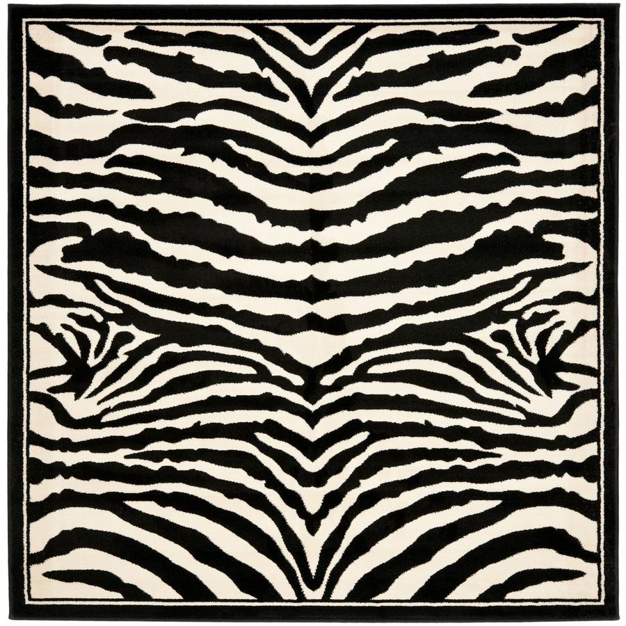 Safavieh Lyndhurst Zebra White/Black Square Indoor Animals Area Rug (Common: 8 x 8; Actual: 8-ft W x 8-ft L)