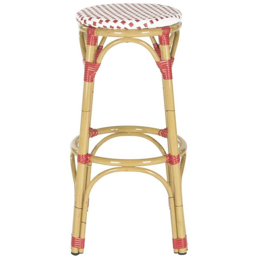 Safavieh Kipnuk 1-Count Red/White Wood Patio Bar Stool Chair with