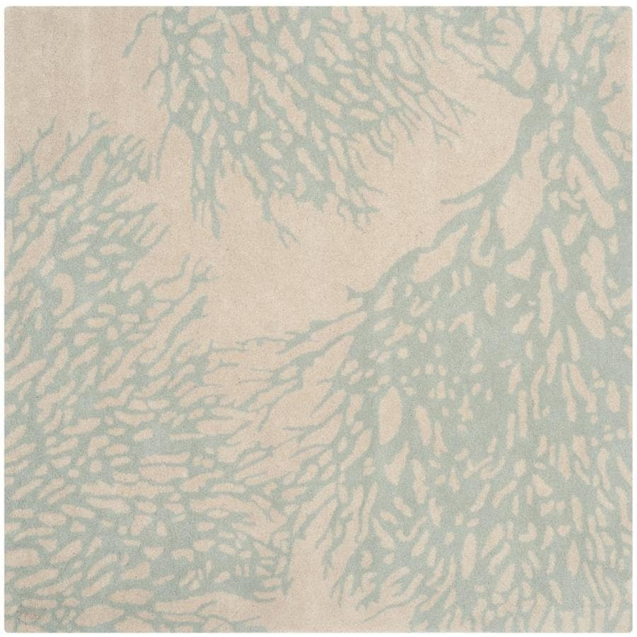 Safavieh Bella Beige/Blue Square Indoor Handcrafted Nature Area Rug (Common: 7 x 7; Actual: 7-ft W x 7-ft L)