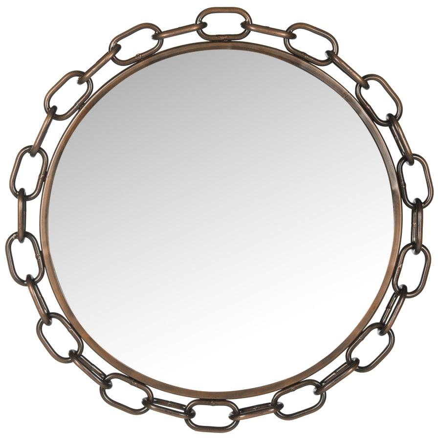 Safavieh Atlantis Chain Link Antique Copper Polished Round Wall Mirror