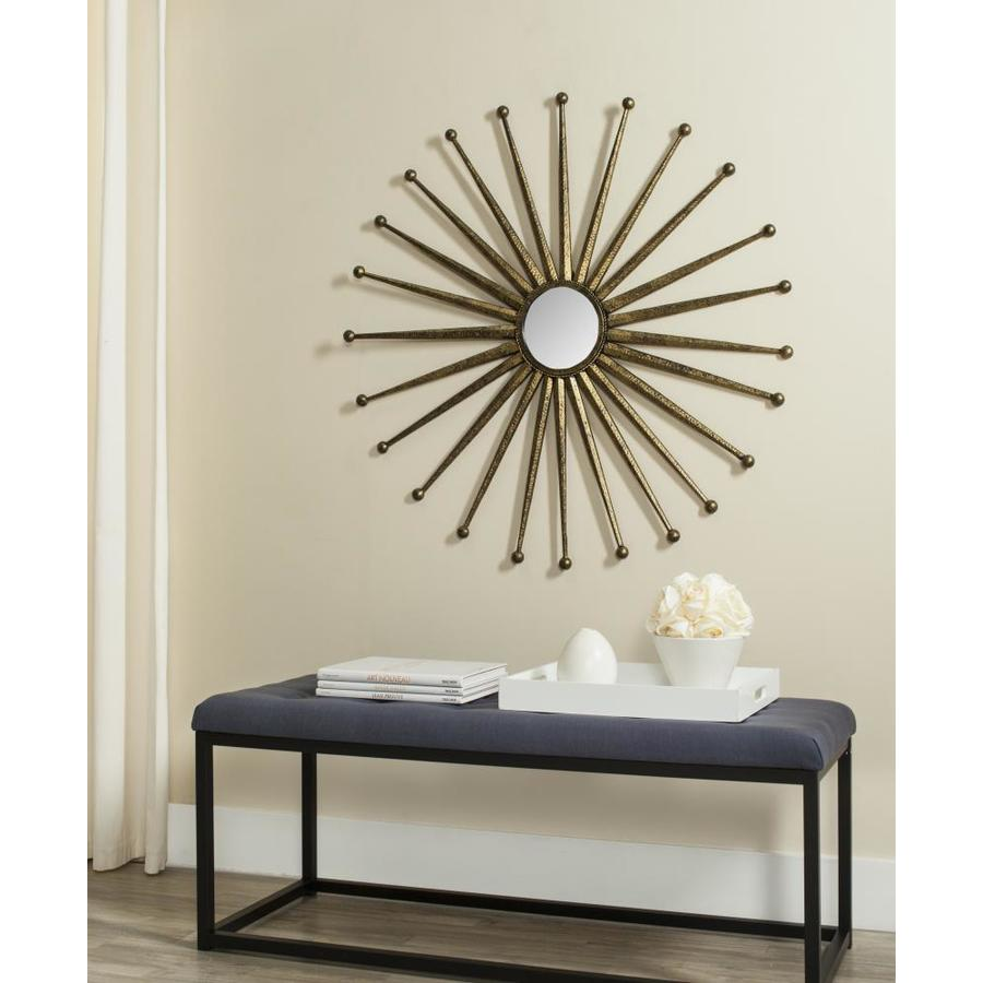 Shop Safavieh Capella Antique Gold Framed Round Wall Mirror at Lowes.com