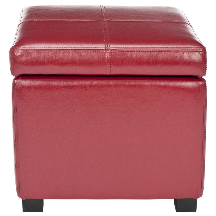 Safavieh Madison Casual Red Faux Leather Storage Ottoman