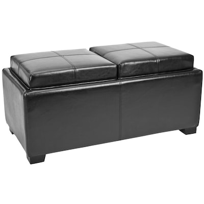 Incredible Safavieh Harrison Double Casual Black Faux Leather Storage Bralicious Painted Fabric Chair Ideas Braliciousco
