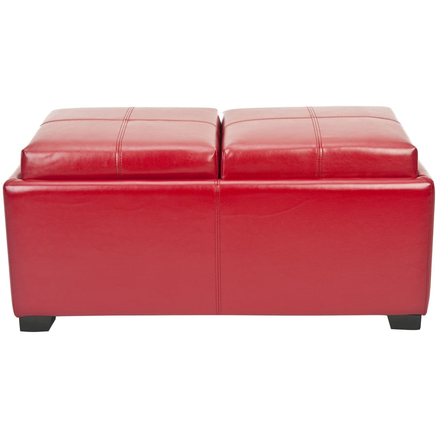Safavieh Harrison Double Casual Red Faux Leather Storage Ottoman