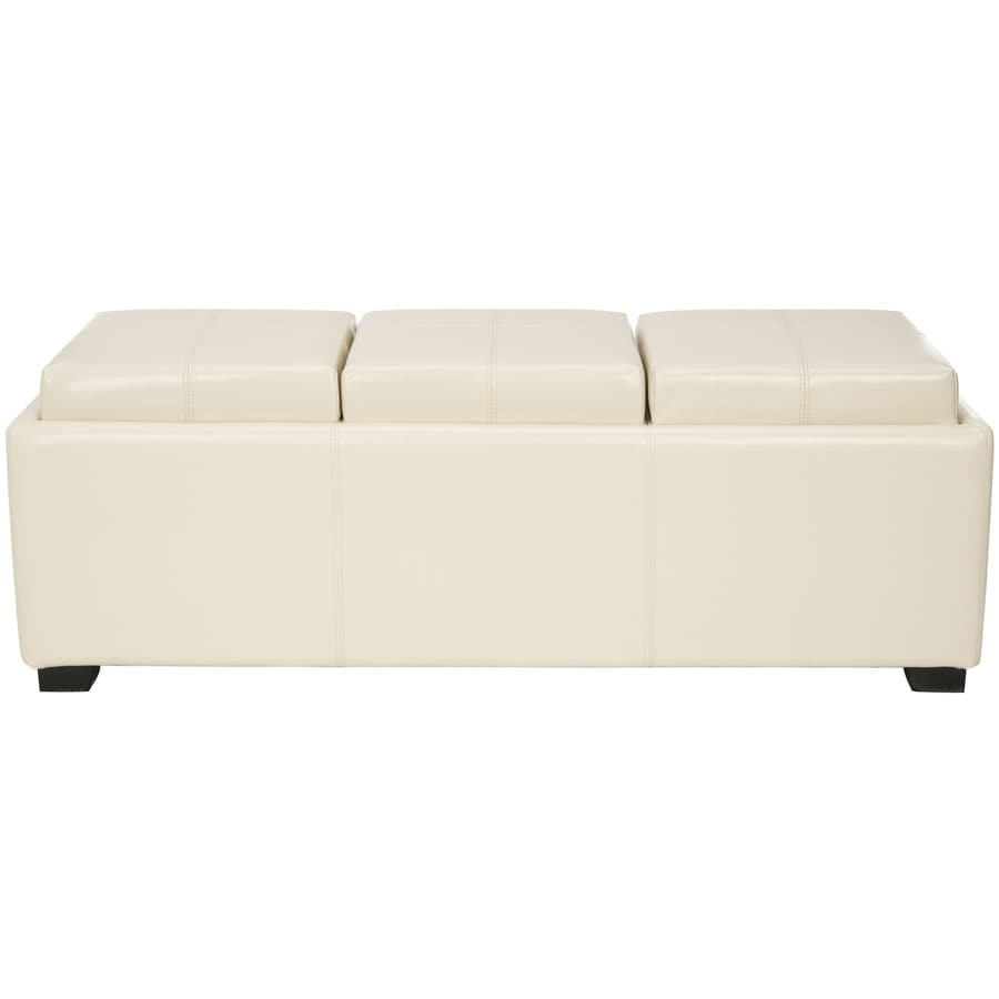 safavieh harrison triple casual flat cream faux leather storage ottoman