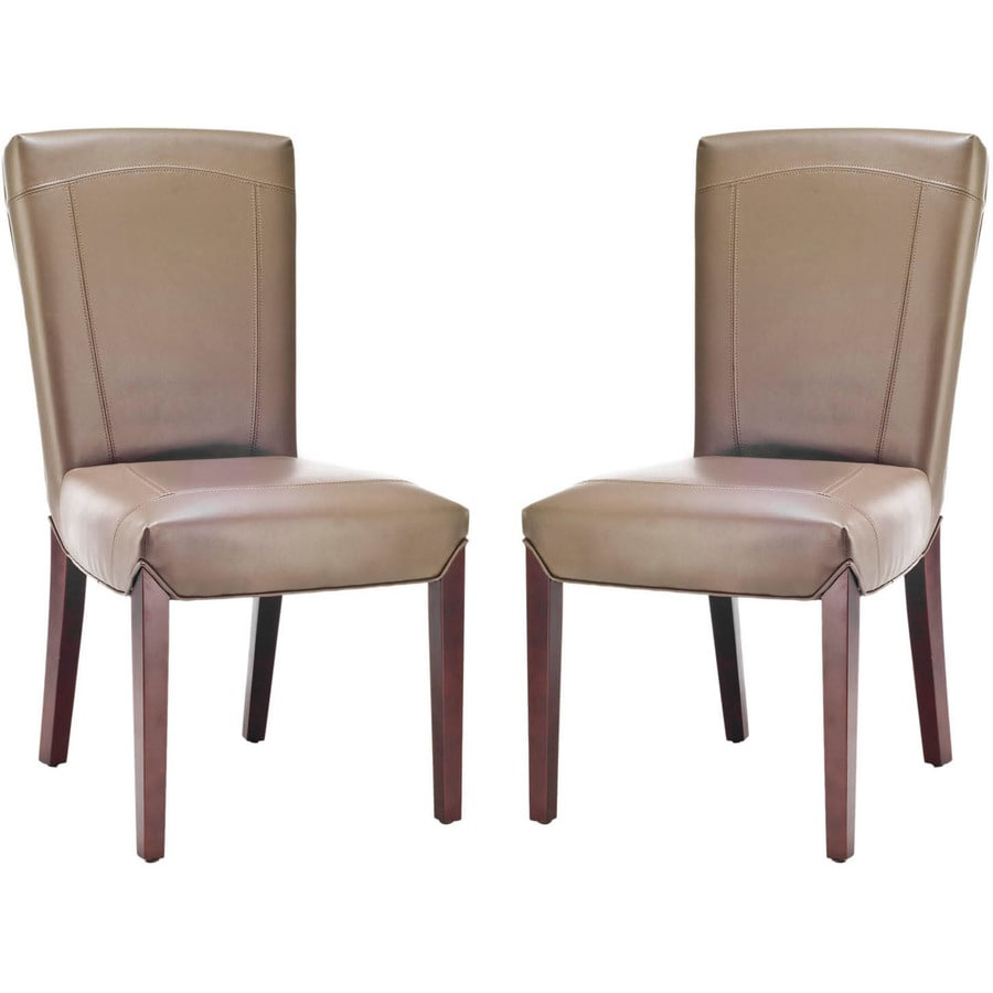 Safavieh Set of 2 Ken Side Casual Clay Faux Leather Accent Chairs