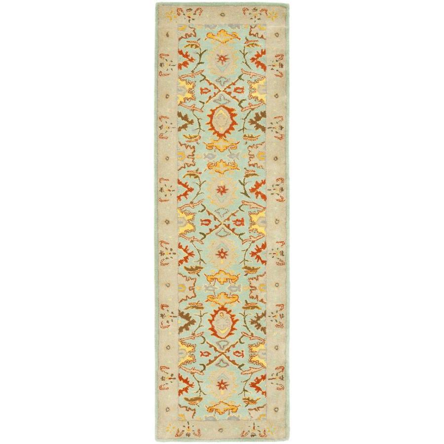 Safavieh Heritage Peshwar Light Blue/Ivory Rectangular Indoor Handcrafted Oriental Runner (Common: 2 x 8; Actual: 2.25-ft W x 8-ft L)