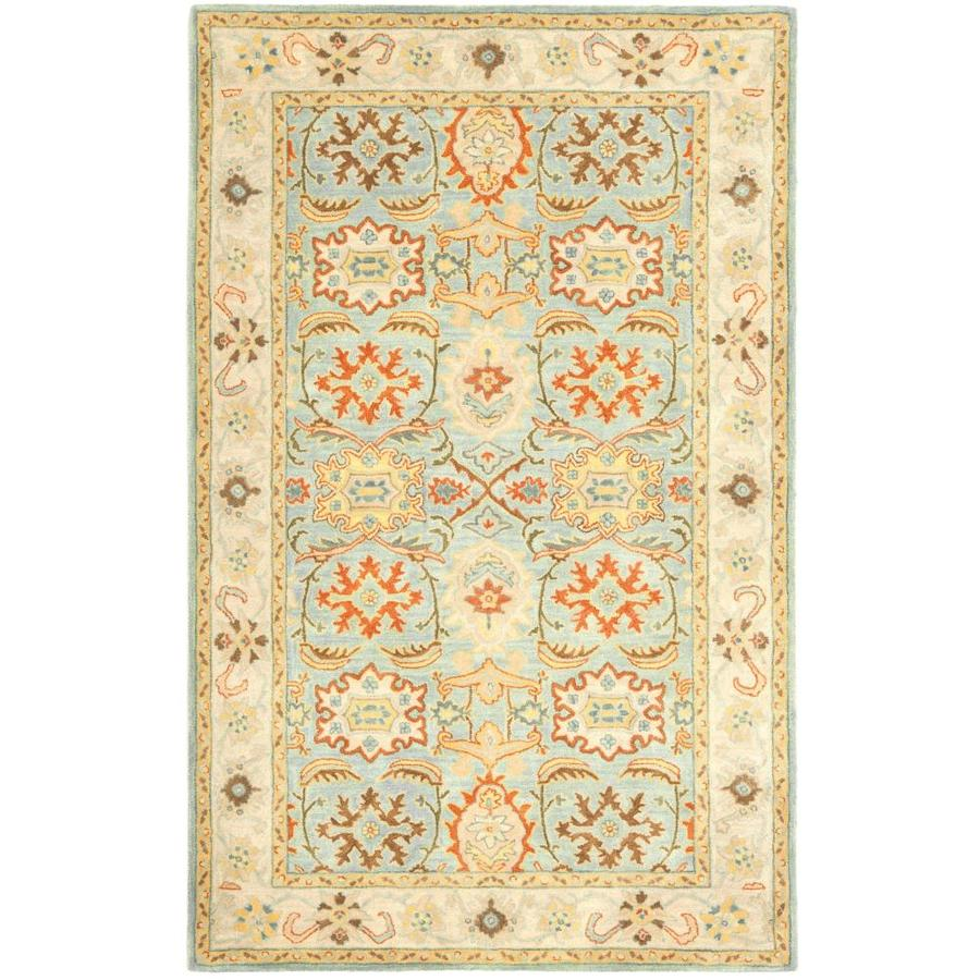 Safavieh Heritage Peshwar Light Blue/Ivory Rectangular Indoor Handcrafted Oriental Area Rug (Common: 5 x 8; Actual: 5-ft W x 8-ft L)