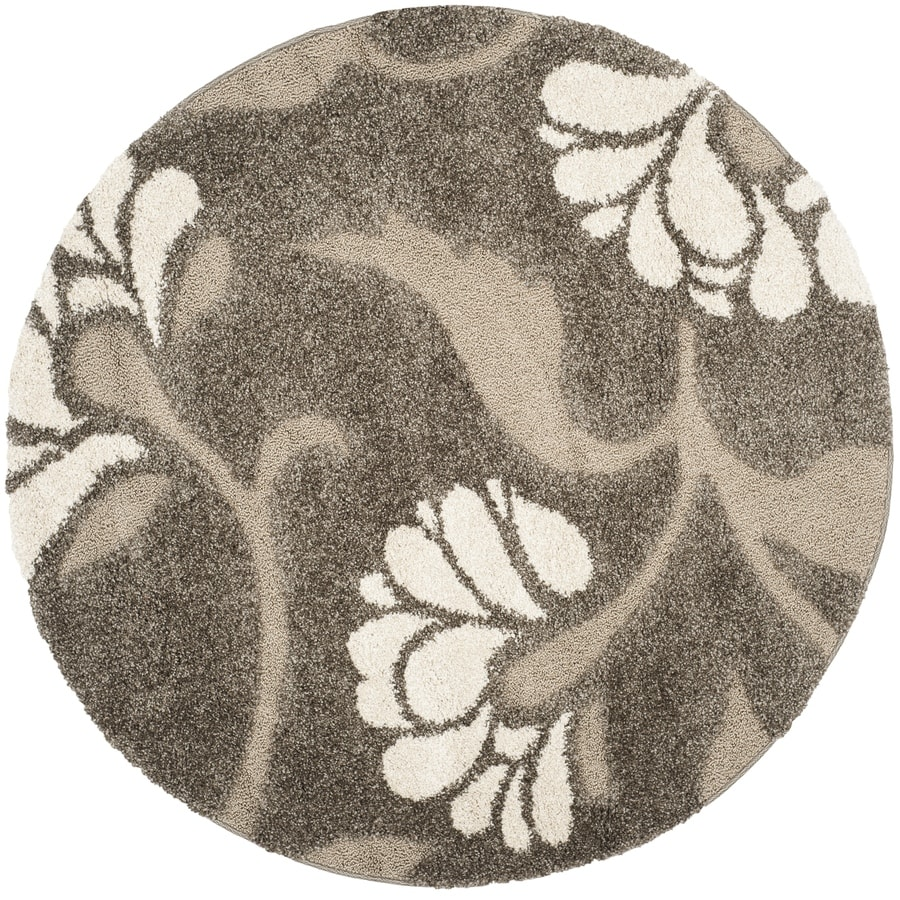 Safavieh Koi Shag Smoke/Beige Round Indoor Tropical Area Rug (Common: 4 x 4; Actual: 4-ft W x 4-ft L x 4-ft dia)
