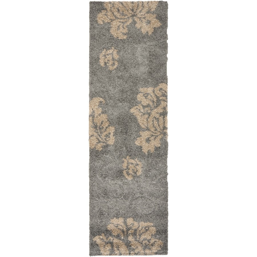 Safavieh Florida Shag Grey/Beige Rectangular Indoor Machine-Made Runner