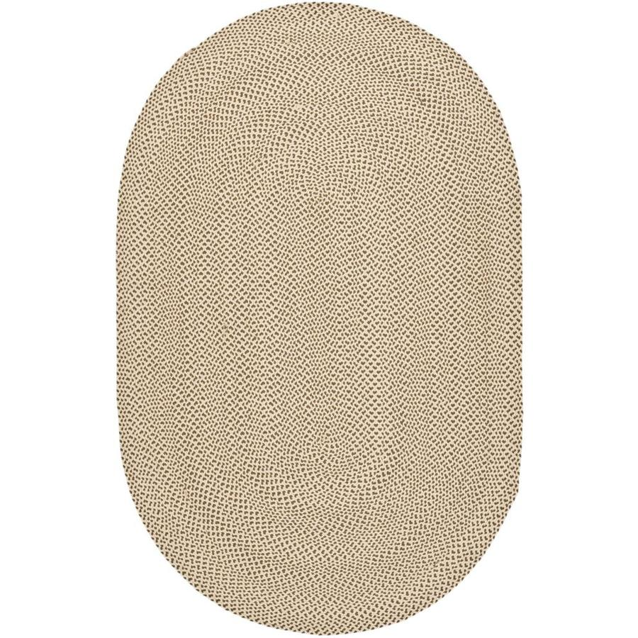 Safavieh Braided Salem Beige/Brown Oval Indoor Handcrafted Coastal Area Rug (Common: 5 x 8; Actual: 5-ft W x 8-ft L)
