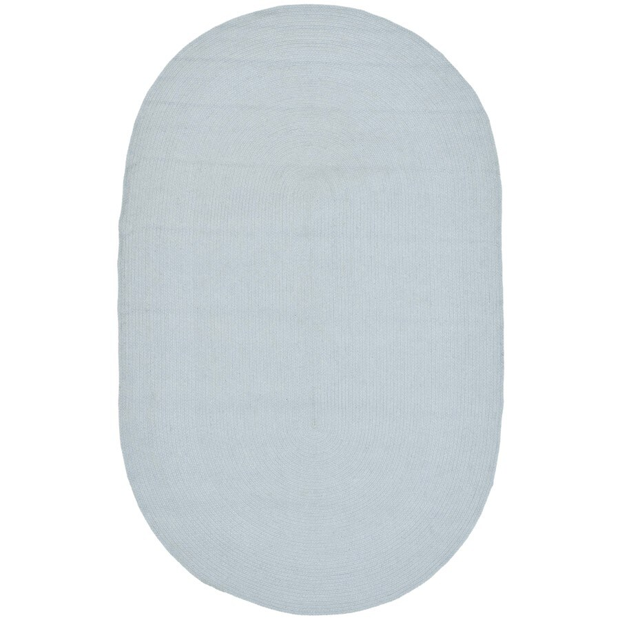 Safavieh Braided Peabody Light Blue Oval Indoor Handcrafted Coastal Area Rug (Common: 8 x 10; Actual: 8-ft W x 10-ft L)