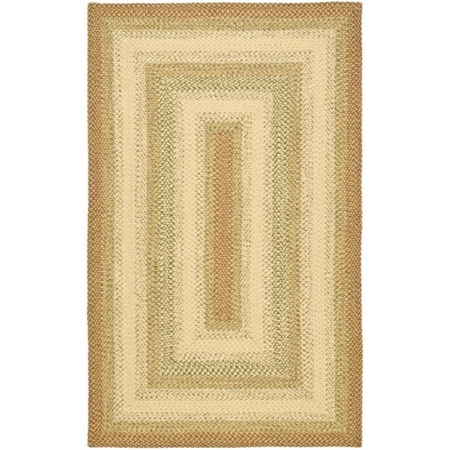 Safavieh Braided Rust/Multi Rectangular Indoor Handcrafted Coastal Throw Rug (Common: 3 x 5; Actual: 3-ft W x 5-ft L)