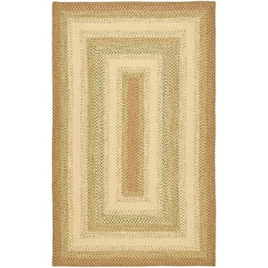 Safavieh Braided Ipswich Rust/Multi Rectangular Indoor Handcrafted Coastal Area Rug (Common: 6 x 9; Actual: 6-ft W x 9-ft L)
