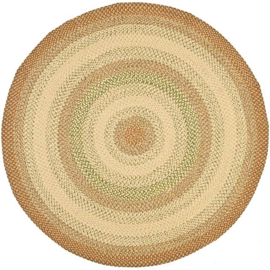 Safavieh Braided Ipswich Rust Round Indoor Handcrafted Coastal Area Rug (Common: 6 x 6; Actual: 6-ft W x 6-ft L x 6-ft dia)