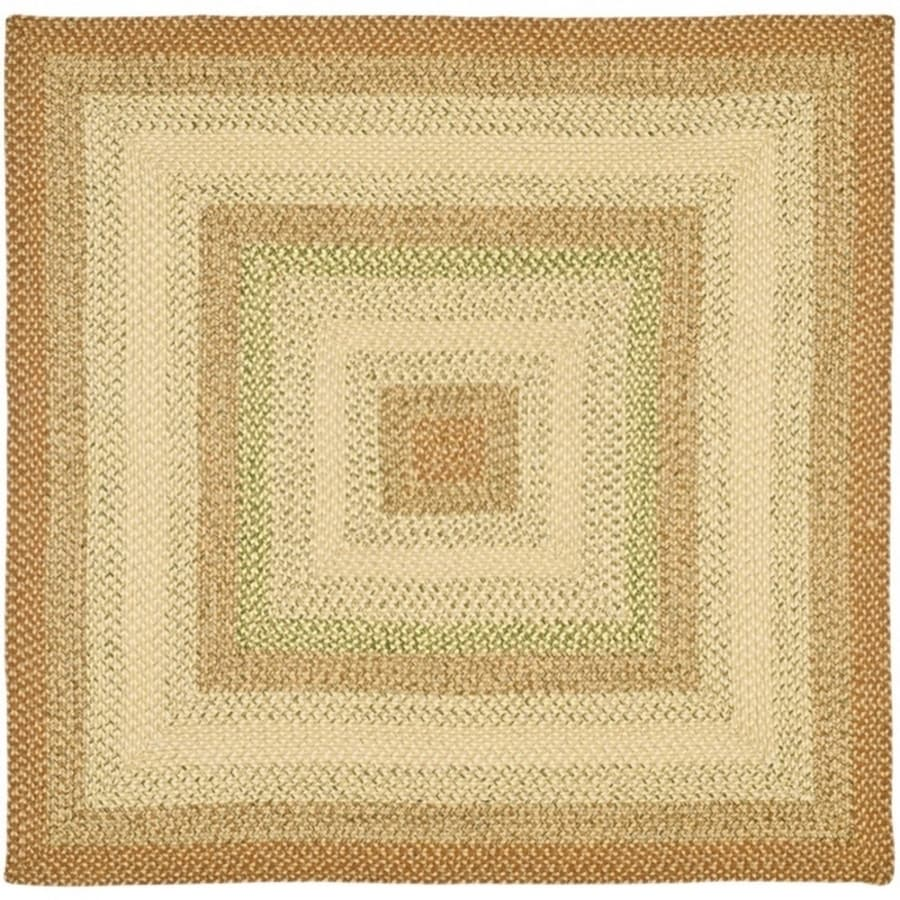 Safavieh Braided Rust and Multi Square Indoor Braided Area Rug (Common: 8 x 8; Actual: 8-ft W x 8-ft L)