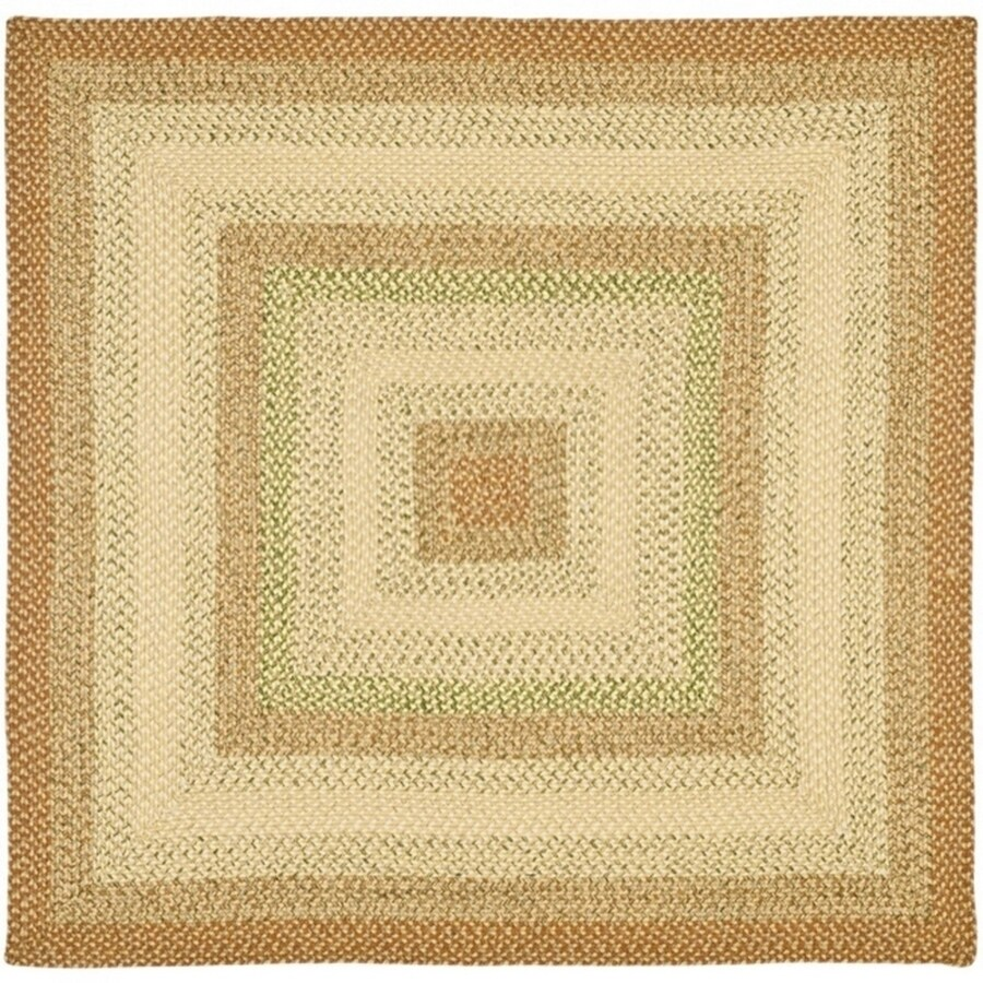 Safavieh Braided Ipswich Rust/Multi Square Indoor Handcrafted Coastal Area Rug (Common: 8 x 8; Actual: 8-ft W x 8-ft L)