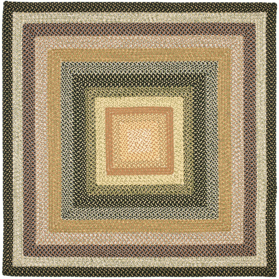 Safavieh Braided Black and Grey Square Indoor and Outdoor Braided Area Rug (Common: 8 x 8; Actual: 96-in W x 96-in L x 0.58-ft Dia)