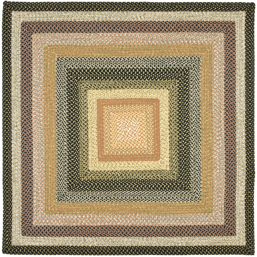 Safavieh Braided Multi Square Indoor Handcrafted Coastal Area Rug (Common: 7.10 x 7.10; Actual: 8-ft W x 8-ft L)
