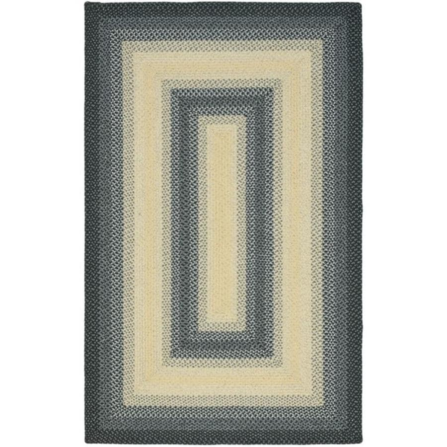 Safavieh Braided Higham Black/Gray Indoor Handcrafted Coastal Area Rug (Common: 6 x 9; Actual: 6-ft W x 9-ft L)