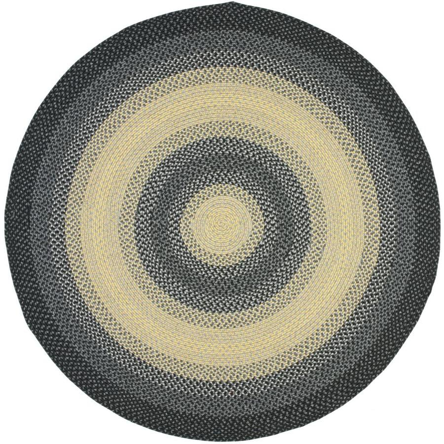 Safavieh Braided Higham Black/Gray Round Indoor Handcrafted Coastal Area Rug (Common: 8 X 8; Actual: 8-ft W x 8-ft L x 8-ft dia)