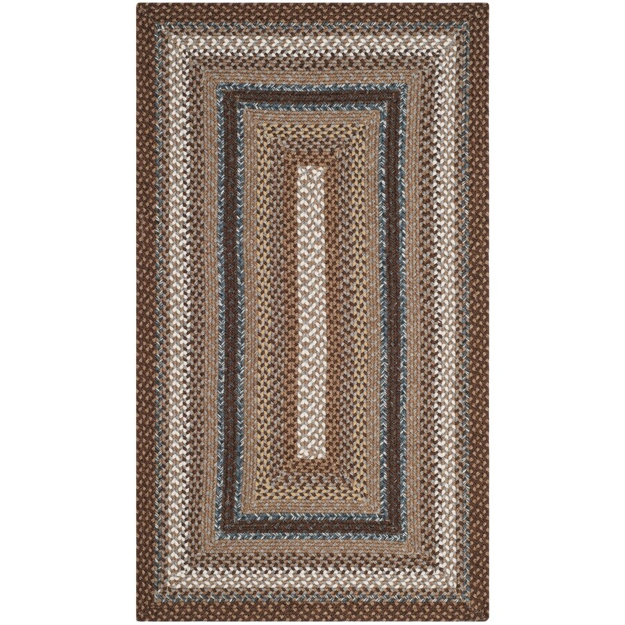 Safavieh Braided Brown and Multicolor Rectangular Indoor and Outdoor Braided Throw Rug (Common: 3 x 5; Actual: 36-in W x 60-in L x 0.33-ft Dia)