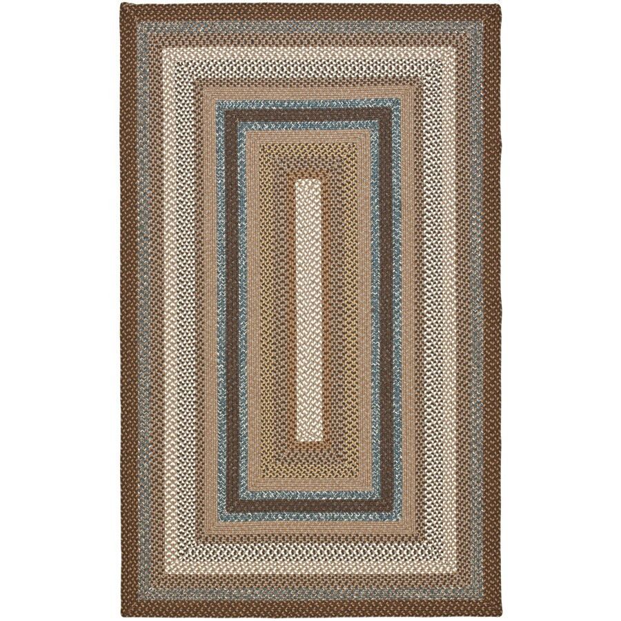 Safavieh Braided Charleston Brown/Multi Rectangular Indoor Handcrafted Coastal Area Rug (Common: 4 x 6; Actual: 4-ft W x 6-ft L)