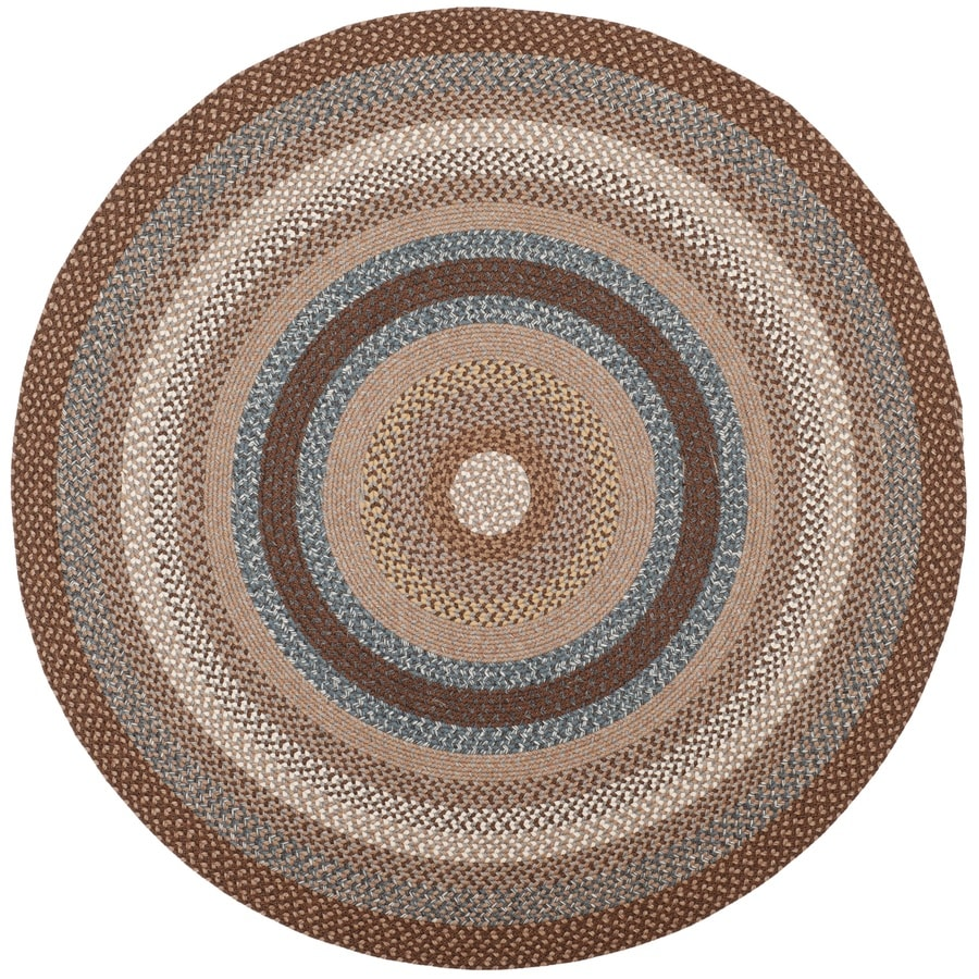 Safavieh Braided Charleston Brown/Multi Round Indoor Handcrafted Coastal Area Rug (Common: 8 x 8; Actual: 8-ft W x 8-ft L x 8-ft Dia)