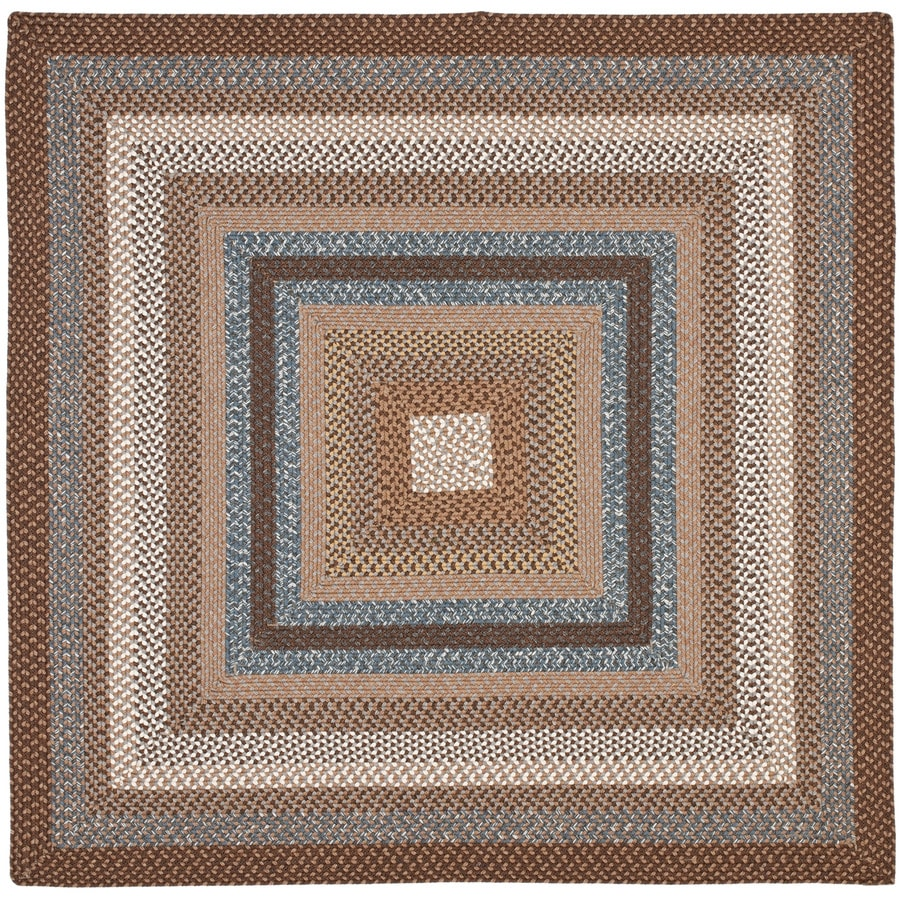 Safavieh Braided Charleston Brown/Multi Square Indoor Handcrafted Coastal Area Rug (Common: 8 x 8; Actual: 8-ft W x 8-ft L)
