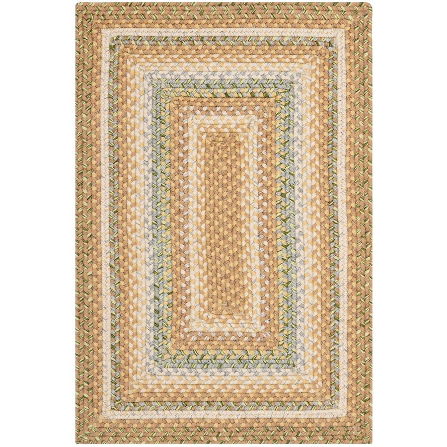 Safavieh Braided Tan and Multi Rectangular Indoor Braided Throw Rug (Common: 3 x 5; Actual: 3-ft W x 5-ft L)