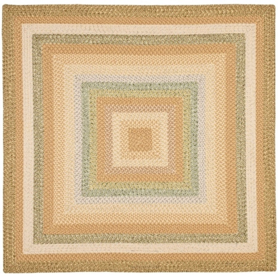 Safavieh Braided Tan/Multi Square Indoor Handcrafted Coastal Area Rug (Common: 6 x 6; Actual: 6-ft W x 6-ft L x 0-ft Dia)