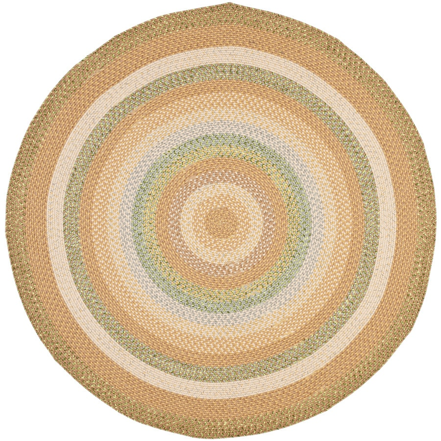 Safavieh Braided Concord Tan/Multi Round Indoor Handcrafted Coastal Area Rug (Common: 8 x 8; Actual: 8-ft W x 8-ft L x 8-ft Dia)