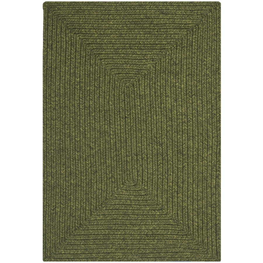 Safavieh Braided Green Rectangular Indoor Braided Throw Rug (Common: 3 x 5; Actual: 3-ft W x 5-ft L)