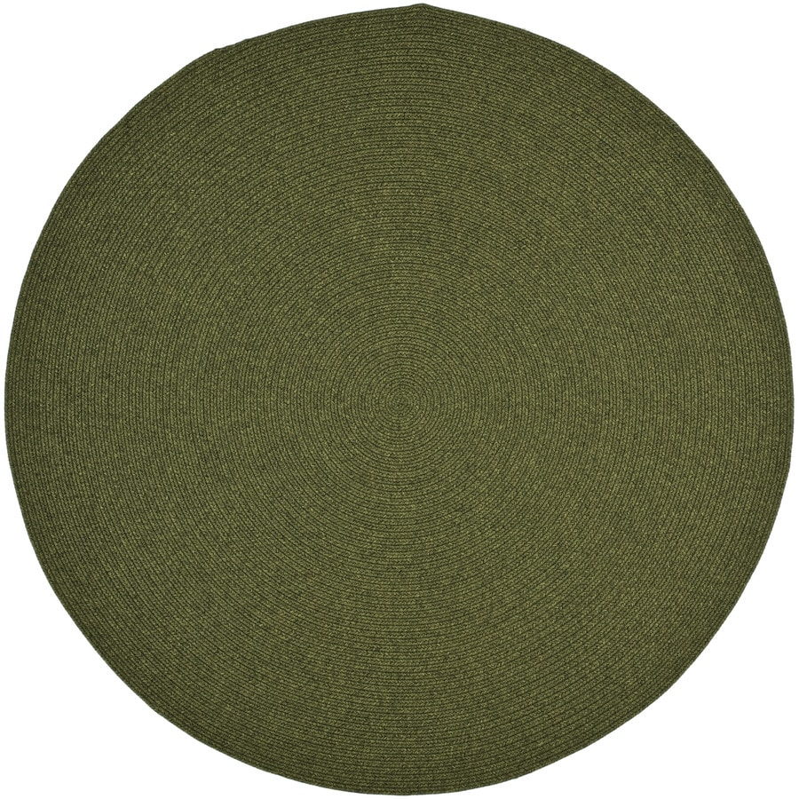Safavieh Braided Green Round Indoor Handcrafted Coastal Area Rug (Common: 7.10 x 7.10; Actual: 8-ft W x 8-ft L x 8-ft Dia)