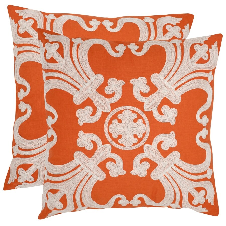 Safavieh Collette 2-Piece 22-in W x 22-in L Orange Square Indoor Decorative Pillow