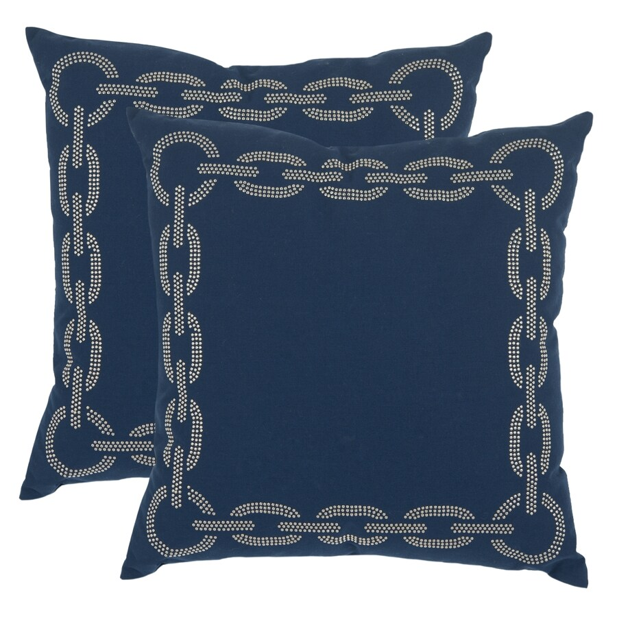 Safavieh Sibine 2-Piece 18-in W x 18-in L Navy/Blue Square Indoor Decorative Pillow