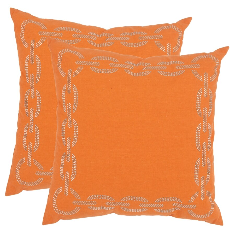 Safavieh Sibine 2-Piece 18-in W x 18-in L Orange Indoor Decorative Pillow