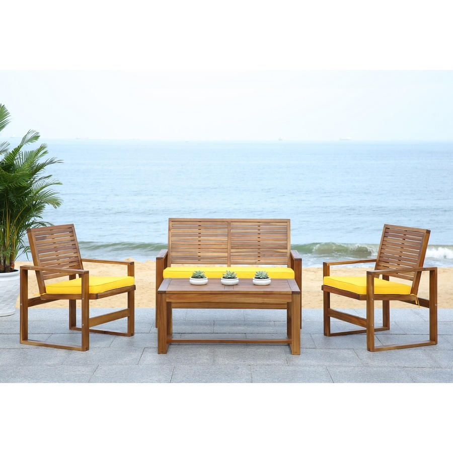 Safavieh Ozark 4-Piece Acacia Patio Conversation Set