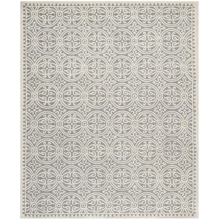 Safavieh Cambridge Silver and Ivory Rectangular Indoor Tufted Area Rug (Common: 9 x 12; Actual: 108-in W x 144-in L x 0.75-ft Dia)