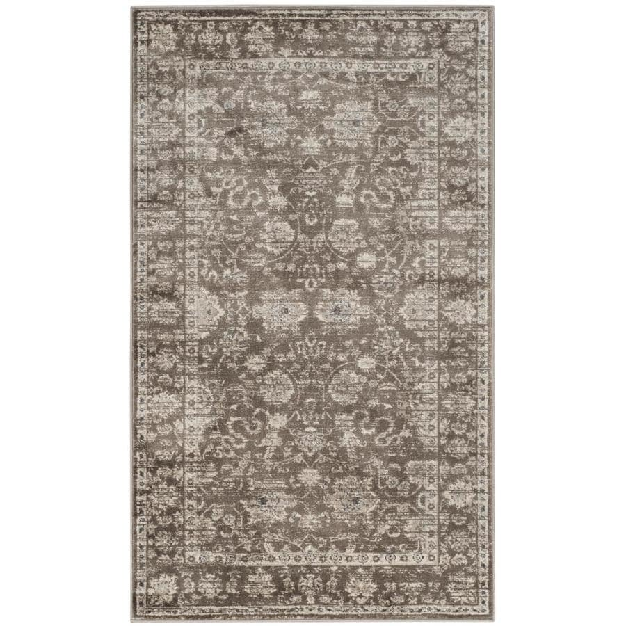 Safavieh Vintage Brown/Ivory Rectangular Indoor Machine-Made Distressed Area Rug (Common: 4 x 6; Actual: 4-ft W x 5.583-ft L)