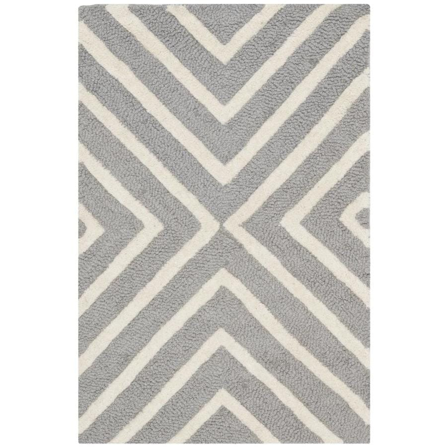 Safavieh Cambridge Silver and Ivory Rectangular Indoor Tufted Throw Rug (Common: 2 x 3; Actual: 24-in W x 36-in L x 0.33-ft Dia)