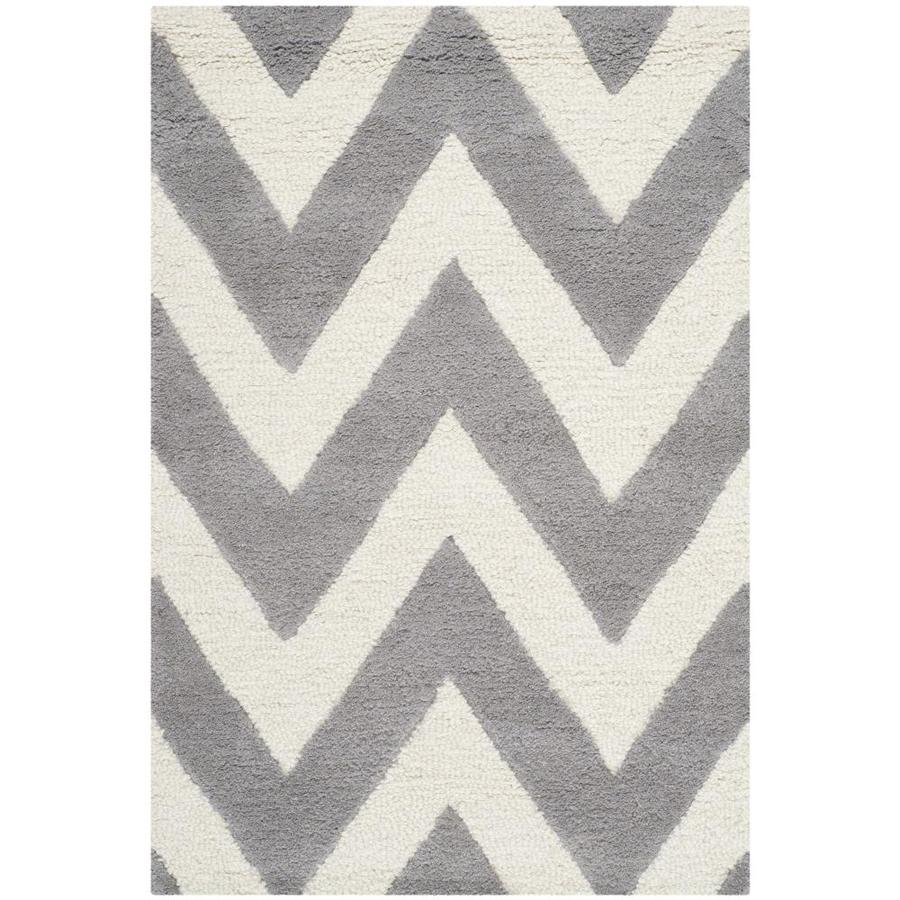 Safavieh Cambridge Silver/Ivory Rectangular Indoor Tufted Moroccan Throw Rug (Common: 2 x 4; Actual: 2.5-ft W x 4-ft L)